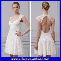 WE-1635 Elegant lace overlay keyhole back casual short country wedding dresses 2013