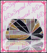 Aidocrystal handmade crystal multicolor maple design detachable chain clutch/tote/ /purse/handbag for party