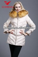 Big fur collar ladies winter coat down jacket with bubble sleeve