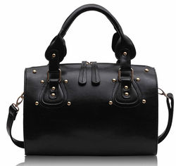 2013 Winter Design Big Size Double Zipper Pull Black Long Strap Women Fashion Shopper Bag
