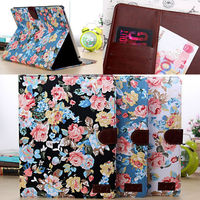 Flower leather case for ipad4, for ipad 4 wallet cases