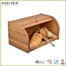 Bamboo Bread Storage Box/Bread Bin with Roll Top/Kitchen Storage/Homex_BSCI