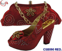 CSB590 RED New designs of low heels shoes/sandals/slippers women shoes matching bag for wedding/party