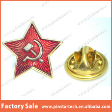 Wholesale Custom Hammer & Sickle Red Star Communist Revolution Socialist Star Metal Button Lapel Pin Badge