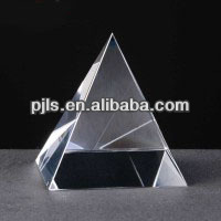 quartz crystal pyramid paperweight, glass pyramid shaped paperweight