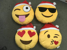 2015 Hot Sale In Stock High Quality Christmas gift wholesale soft cute stuffed plush emoji pillow