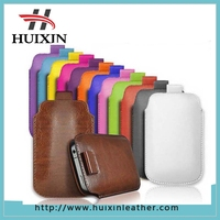 Popular pull tab leather bag / leather phone pouch case for iphone6