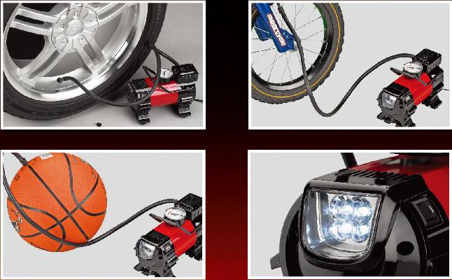 Dc 12 v heavy duty compressor de ar do pneu inflators <br/> com luz