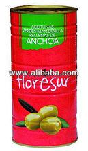 Manzanilla Green Olives Stuffed with Anchovies Large