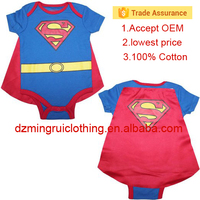 New fashion baby boy's clothes short sleeve superman baby romper