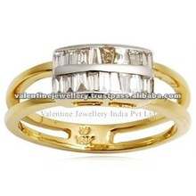 diamond ring in yellow gold, twin row gold ring, baggetts yellow gold toe ring