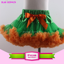 Visual impact green chiffon with orange hemlines girls pettiskirts for Halloween