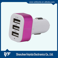 Mobile phone accessories CE FCC ROHS 3 port usb car charger and data cable