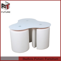 contemporary white stools glass triangle shape coffee table