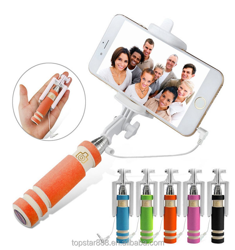 2015 super mini selfie stick handheld pocket size mini selfie stick monopod holder for iphone. Black Bedroom Furniture Sets. Home Design Ideas
