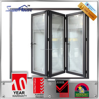 New design aluminum commercial accordion folding doors with blinds inside