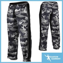 polyester mesh camo pants contrast colored panels gym pants for men