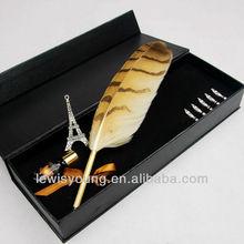 Natural owl feather pen set, unique business corporate souvenir gift