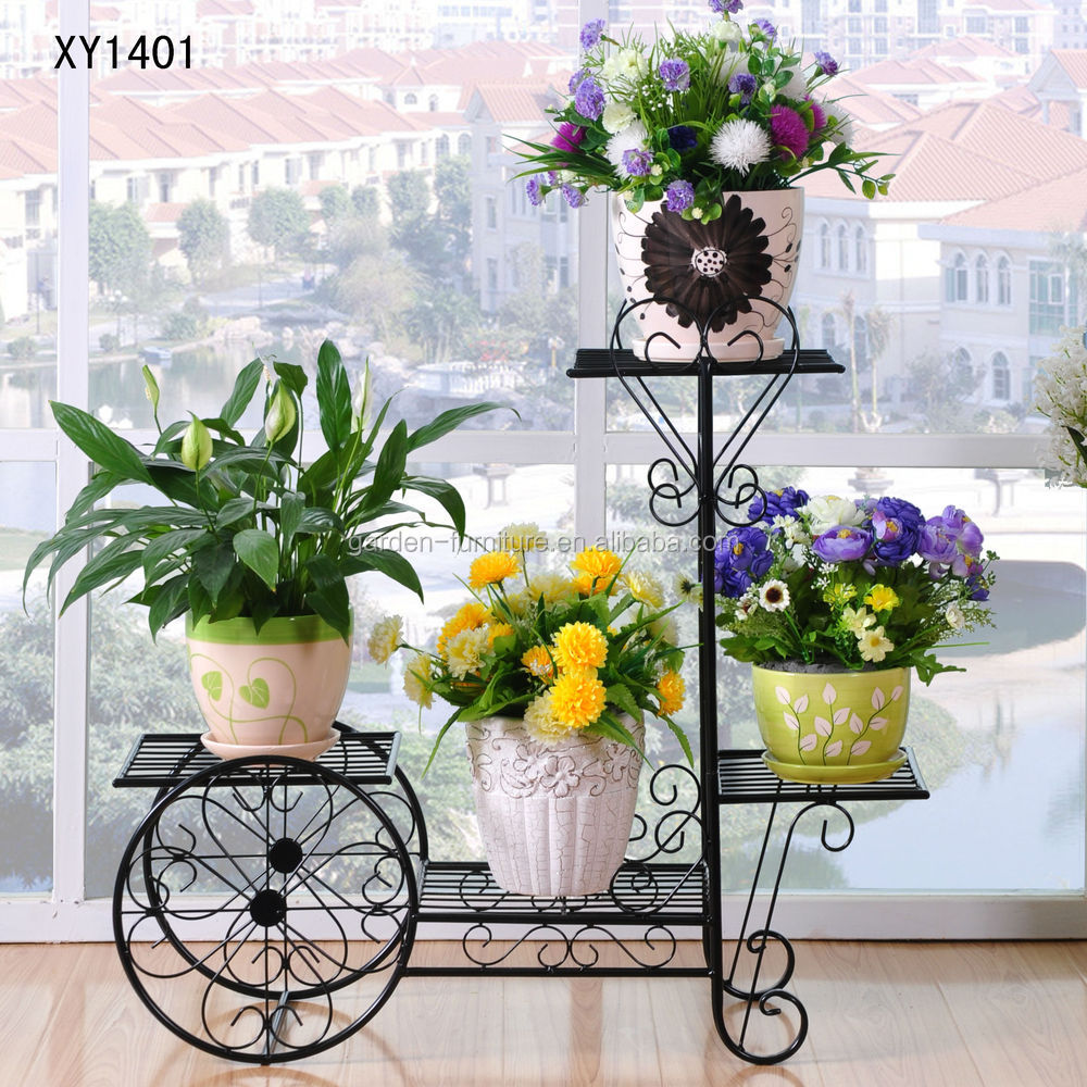 New Wrought Iron Bicycle Garden Basket 3 Tier Patio Porch