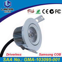 Langma 2015 NEW driverless 110V 220V AC no driver support dimmable Samsung COB chip 6W CRI>80 warm/cool white LED lamp downlight