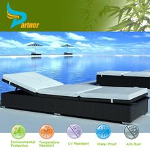 Modern Patio Furniture Rattan Stackable Sun Lounger Beds / Plastic Wicker Sun Lounger