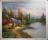 Thomas kinkade oil painting reproduce on canvas