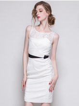 wholesale elegant women dress, white with lace dress for office