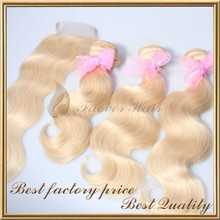 top quality honey blonde 613# color body wave 100% european virgin hair weft with lace top closure 4pcs for a full head