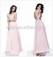 Charming Short Sleeves A Line Chiffon Floor Length Cross Ruffled Evening Dress