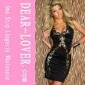 2014 venta al por mayor sexy negro corto vestido bodycon libre de patrones vestidodenoche