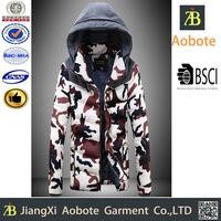 2015 Camouflage Style Man Softshell Warm Puffer Winter Jacket
