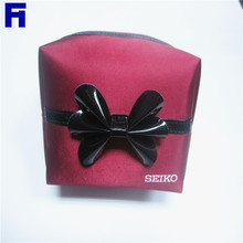 Newest Red Black Bow Small PU Women Classical Zipper Set Storage Bag Makeup Pouch Cosmetic Toiletry