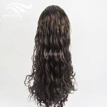 German Lace Streaked Color Braizlian Hair Curly Wig for Black Women
