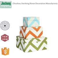 Decorative line set of 3 printing linen fabric jewelry holder, velvet jewelry box, custom jewelry box