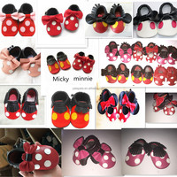 New Mickey Minnie mouse baby shoes Genuine Leather fringe bow Baby Moccasins shoes First Walkers Chaussure Bebe newborn shoes