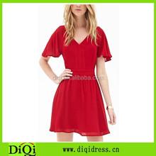 Stylish new fashion cut-out woven lady women red dress