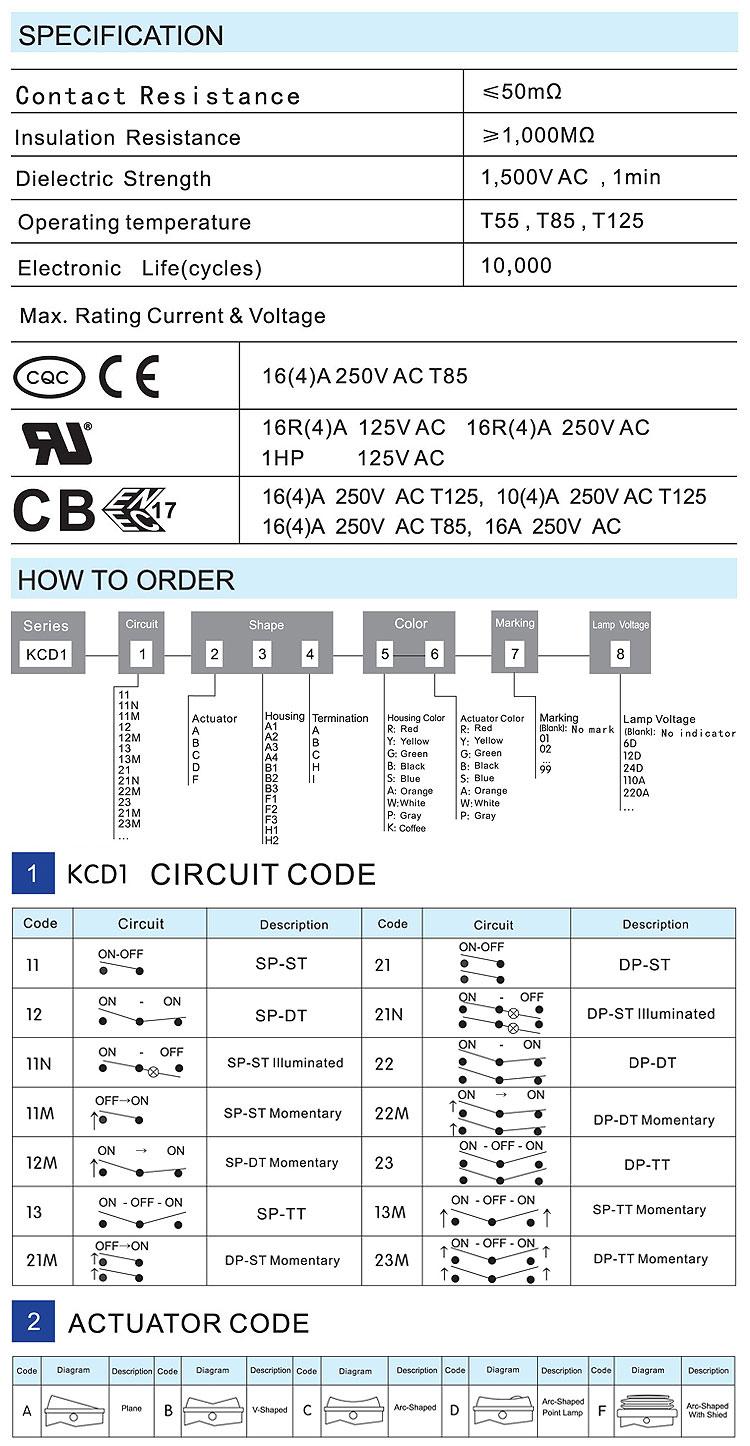 KCD1 6 pin bunny hazard light double pole ip67 waterproof cover rocker switch