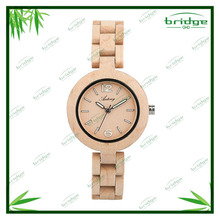 new arrival original design natural color wooden wrist watch women