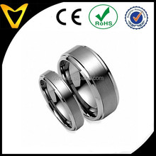 Wholesale Tungsten Ring, Free Laser Engraving His & Her's 8MM6MM Brushed Center Step Edge Tungsten Carbide Wedding Band Ring Set