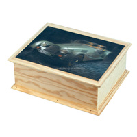 New custom natural pine wooden box with 3D card picture lid