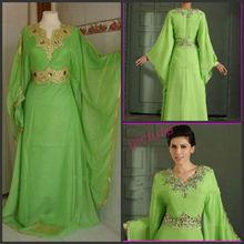 ZC9113 Real Sample Arabic Floor Length Long Sleeve Zip Up Back Chiffon Muslim Evening Dress