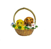 New Metal alloyed two dogs in basket Jewelry Box trinket box for Jewerly Storage