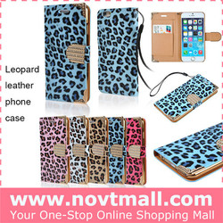 Bling crystal leopard for iphone case wholesale for iphone 6 wallet case factory for leopard iphone case