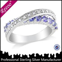 fashion 925 sterling silver jewelry cross X shape zircon vogue ring