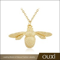 OUXI 2015 new design 925 italy silver 24k gold plated payal jewelry necklace for girl Y10034
