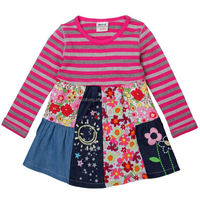 Hand make baby dress cotton long sleeve stripe flower girl one-piece dress for kids(H4110)