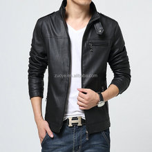 OEM Mens Leather PU Genuine Cheap Faux Men Leather Jacket With new arrival fancy leather sleeves denim jacket for men