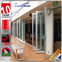 Australian standard aluminum thermal break exterior or interior accordion folding door with shutter