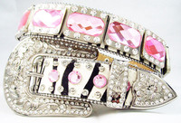 Hot Sale Real Horse Hair Hide Cowgirl Pink Bling Women Western Rhinestone Belt
