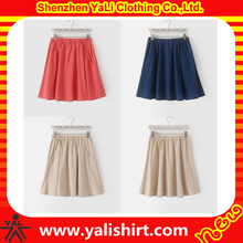 Fashion summer solid color pocket short flared skirts for ladies